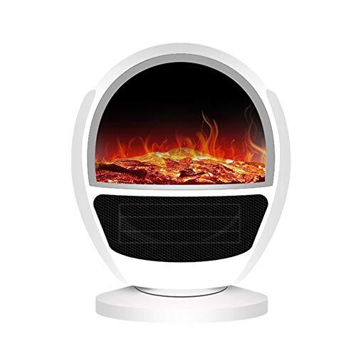 HNHT ventilatorkachel, elektrische ventilator met afstandsbediening, draagbaar, 1000 W, met vlameffect, oververhittingsbeveiliging en omvalbeveiliging
