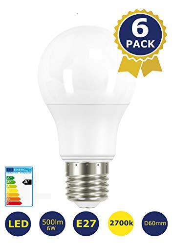 6-er Pack -LED SET Warmweiss 2700K / 500lm / 6W / E27 / Bulb/Glühbirnen/Sparlampen