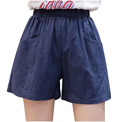 Fantastic Deal! Toimothcn Womens Linen Shorts High Waist Loose Casual Thin Wide Leg Linen Shorts Stretch Shorts(Navy,Small)