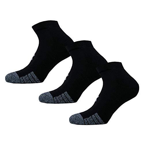 Under Armour Unisex UA Heatgear Locut, Breathable Trainer Socks, Compression Socks, Black (Black/Black/Steel (001)), L
