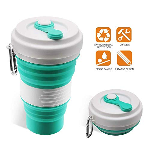 Collapsible Coffee Cup - iGreely Silicone Folding Cup/Mug Sport bottle with Lids - Foldable & Portable & Lightweight Travel Cup for Outdoor Camping Hiking - Light Blue