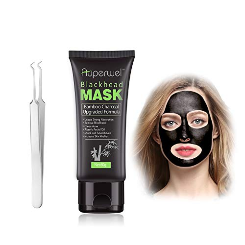 Auperwel Black Mask Blackhead Remover Charcoal Peel Off Mask Deep Cleansing Peel Off Face Mask 2.11 Ounce with 1 Stainless Steel Tweezer (black)