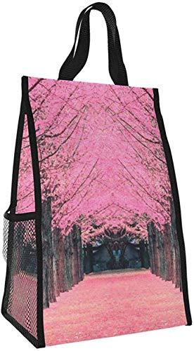 Bolsa aislante plegable, bolsa de almuerzo portátil de árbol de flor de cerezo rosa, bolso de picnic de gran capacidad para viajes de oficina de trabajo