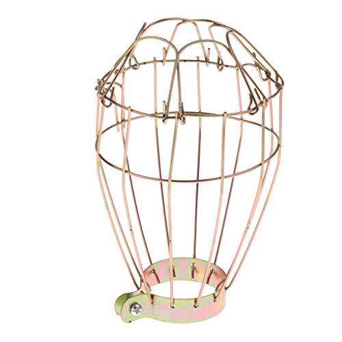 perfk Vintage Käfig Draht Lampenschirm Schutzkorb für Terrarium Lampe Wärmestrahler - Gold