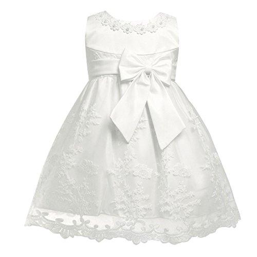 YiZYiF Baby Mädchen Kleid Prinzessin Hochzeits Taufkleid Blumenmädchen Kleider Party Festlich Kleid Festzug Kleidung Kleinkind Elfenbein 86-92