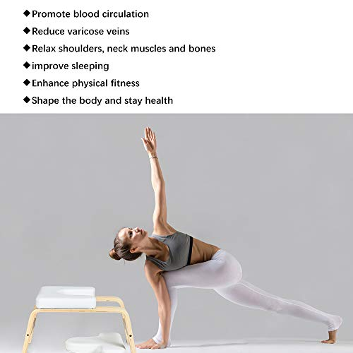 UNCHAIN KEDY Yoga Headstand Bench Wood Stand, Yoga Inversion Chair Stool Handstand with PU Cushion Pads, Solid Fitness Bench Perfect for Both Beginner and Experience Yogis (White)
