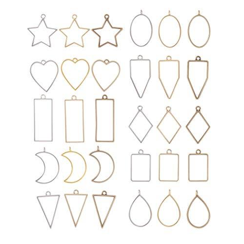 Booly 30 Piezas Colgantes de Bisel Material para Hacer Bisuteria, Moldes de Resina Hueca para Hacer Joyas de Resina, Aretes, Collares, Pulseras, Colgantes y Manualidades