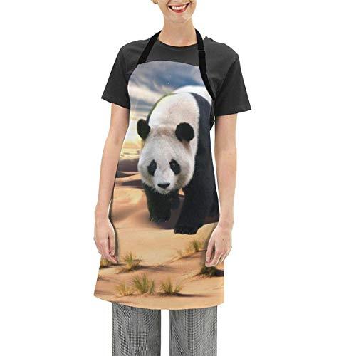 N\A Delantal con Babero Ajustable para niña Panda Nature, Delantales de Cocina Impermeables para cocinar para Mujeres, Hombres, Chef