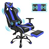 PC Gaming Chair with Massage Blue Racing Style Office Computer Video Game Chair E Sports Chair with Adjustable Swivel Rocker and Retractable Footrest, Headrest and Lumbar Support for Adults/Teens/Kids