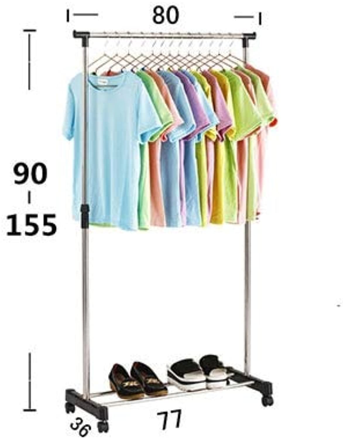 NhaxElite Coat Rack Stand Simple Folding Clothes Hanger Movable Assembled Coat Rack Stand Adjustable Clothing Closet Bedroom Living Room Furniture 145x80x77cm