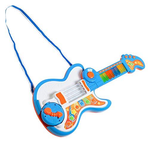 HOMCOM Guitarra Infantil Juguete Electrónico Musical Convertible en Piano Tambor Proyector con Luces Sonidos