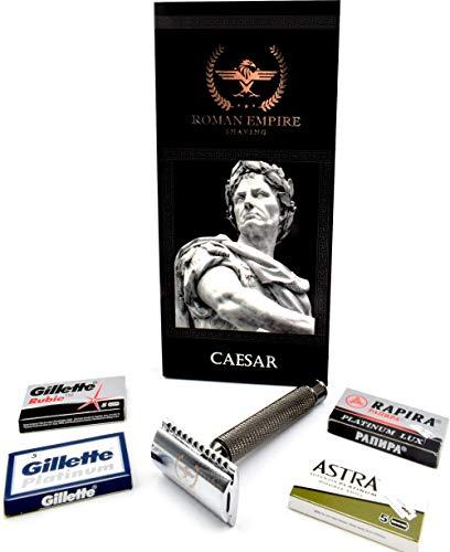Rasoio di Sicurezza a Doppio Filo Caesar Gun Metal di Roman Empire Shaving | Rasoio Classico | Safety Razor | Rasoio in Acciaio con Set di 20 Lamette da Barba (Astra-Platinum-Rubie-Rapira)
