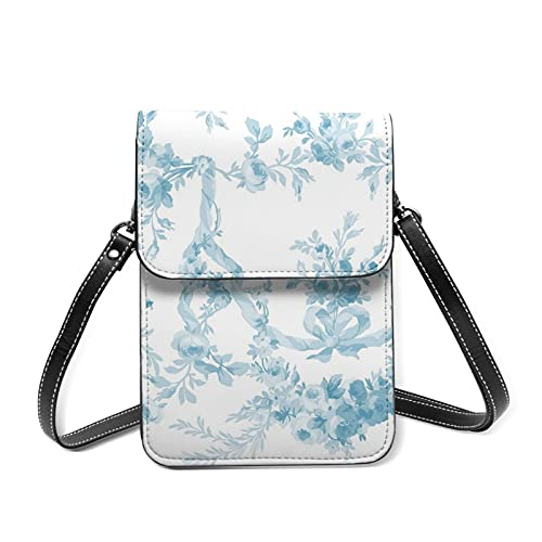 best& Rococo Rose Swag Aqua Small Cell Phone Crossbody Bag for Women Mini Multifunction Crossbody Shoulder Bag Girls Ladies Cell Phone Purse Handbag