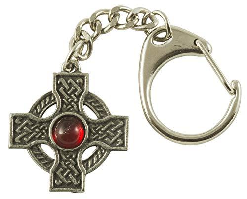 Interlaced Celtic Cross Gem Key Ring in Pewter. RED Gem.