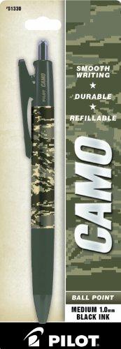 Pilot Camo Retractable Ball Point Pen, Desert Sand Camo, Medium Point, Black Ink, 1 Pen (51310)