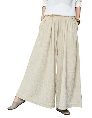 Happy Cherry - Pantalon Femme Large Jambe Casual Pantalon Ample Lin Été Automne avec Poches Pants de Loisirs Yoga Danse Élastique Taille Unique Beige