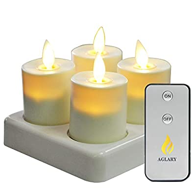 AGLARY Flameless LED Tealight Candle, Battery Operated with Rechargeable Base,3D Wick Candle, Pack 6