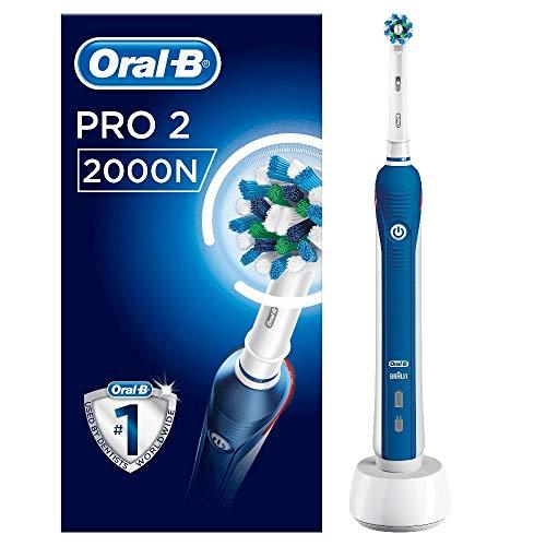 Oral-B Spazzolino elettrico PRO 2 2000N CrossAction, 1 manico blu ricaricabile con tecnologia Braun, 1 testina, timer incorporato e controllo della pressione
