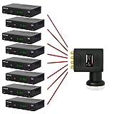PremiumX Deluxe Octo LNB SAT für 8 Teilnehmer Digital Satelliten Signalumsetzer DVB-S2 TV HD UHD 4K - 8