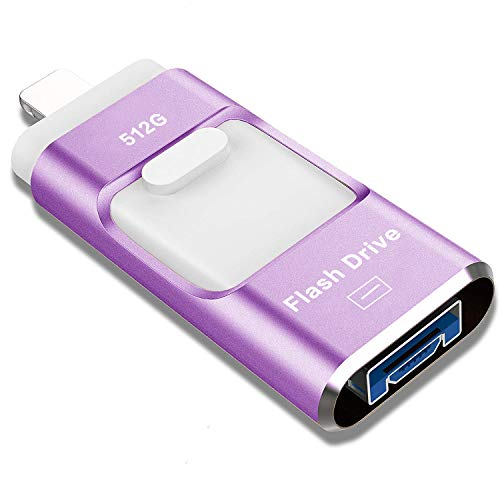 USB Flash Drive 512GB, STTARLUK Photo Stick USB 3.0 Pen Drive Compatible for iPhone/iPad External Storage Memory Stick Compatible with iPad/iPod/Mac/Android/PC (512G Purple)