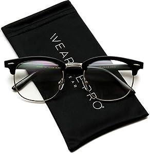 Vintage Inspired Classic Half Frame Horn Rimmed Clear Lens Glasses (Black Silver, 52)