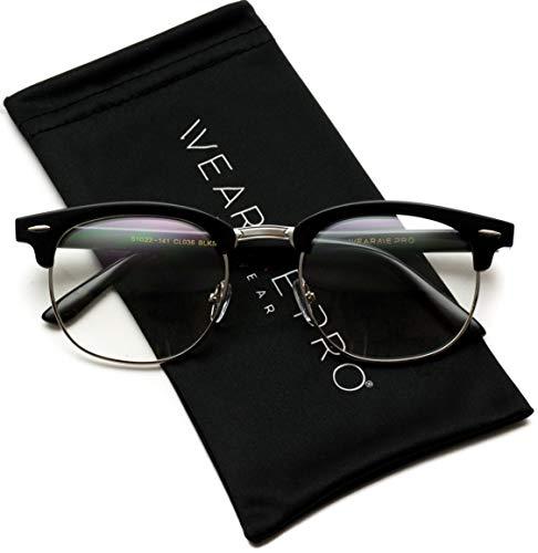 Vintage Inspired Blue Light Blocking Glasses Classic Half Frame Horn Rimmed Clear Lens (Black Silver, 52)