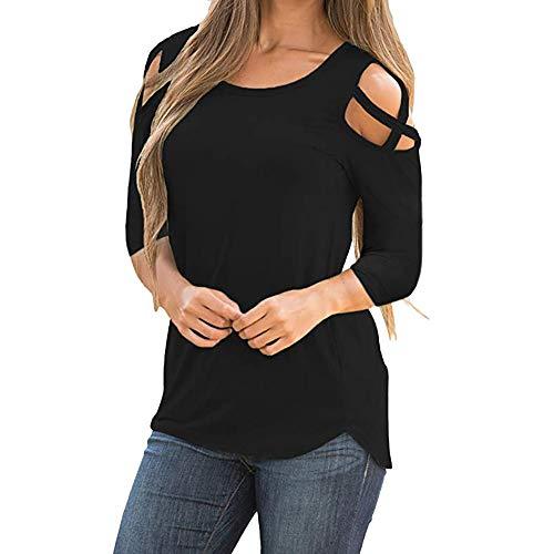 Camiseta solida Mujer Tres Cuartos Manga Tiras entrecruzadas Hombro frío Tops Blusas