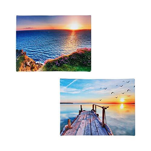 Unbekannt TRI LED-Bilder Sonnenuntergang 2 Stück, Leuchtbild, Wandbild, Leinwandbild, Wanddekoration, LED-Beleuchtung, Leinwand, 20 x 15 x 2 cm