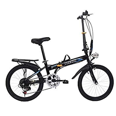 Tengma Leisure 20in Folding Bike Variable Speed Bicycle 7 Speed City Folding Mini Compact Bike Bicycle Urban Commuters for Adults Students Office Workers, Lightweight Fold Travel Bike
