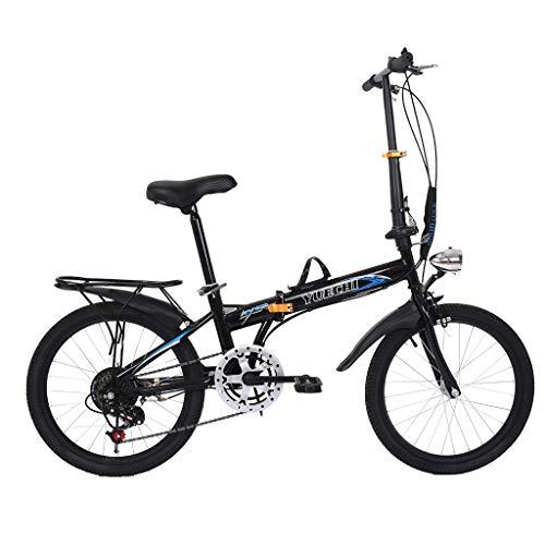 KLDJHNS Mountain Bike, Leisure 20in 7 Speed City Folding Mini Compact Bike Bicycle Urban Commuters, Outdoor Bikes for Men Women