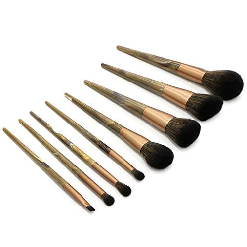 Hshing Set De Pinceaux Visage Et Yeux Marbre Poignée Pour Les DéButants Excellent Cadeau Facile à Coller La Poudre Premium Coloré Pinceaux à Maquillage (B)