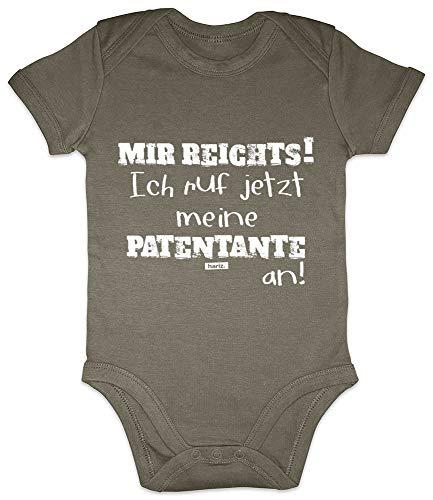 Hariz Baby Body de manga corta Mir Reichts Patentante Tante Spruch Patentante Ideas de regalo Niño niña Plus Tarjeta de regalo Olive Moos Verde 6-12 meses