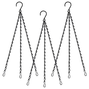 Hanging Basket Chains Hanging Flower Pot Chains 3 Point Hanging Chains Plant Basket Lantern Decorative Hanging Chain Sets 17Inches 3Sets Black
