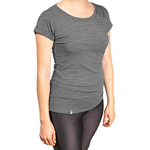 Alpin Loacker Bio Premium Merino T-Shirt Damen Kurzarm (grau, M)