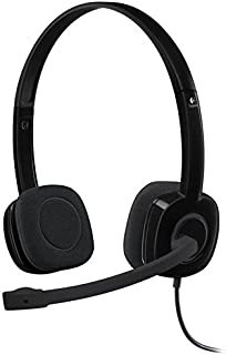 Logitech H151, Lightweight 3.5mm Stereo Headset w/ Noise-Cancelling Boom Microphone, Black