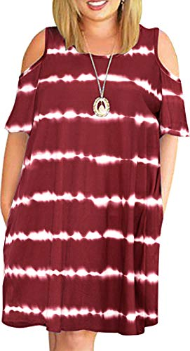 HBEYYTO Women's Plus Size Tie Dye Print Cold Shouler Casual T-Shirt Swing Dress with Pockets(Wine,XL)