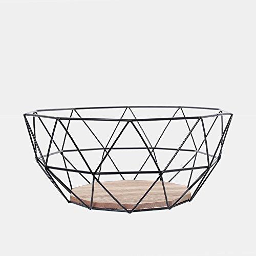 Black Geometric Metal Wire Wooden Base Decorative Storage/ Display Basket Fruit Bowl