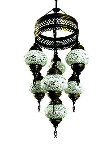 Orientalische Türkische Handgefertigte Mosaik Glas Hänge Lampe Innenleuchte Pendelleuchte Deckenleuchte Aussenleuchte Handarbeit Hängeleuchte Hängelampe 7 Lichter Glasgröße 2 (Silber)