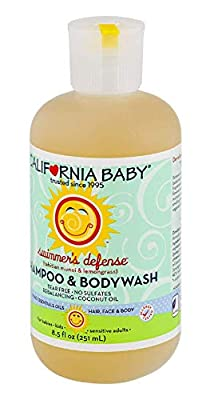 California Baby Swimmer's Defense Shampoo and Body Wash - Hair, Face, and Body | Gentle, Allergy Tested | Dry, Sensitive Skin, 8.5 oz.