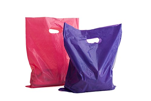 Merchandise Bags: 100 16x18 Purple and Pink Extra Thick Merchandise Bags, Retail Shopping Bags with Handles; Plastic Retail Bags; for Small Retail Shops
