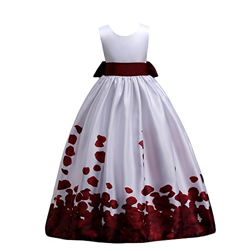 IBTOM CASTLE Little Big Girls Long First Communion Princess Dresses 7-16T Flower Pageant Party Wedding Bridesmaid Burgundy 6-7 Years