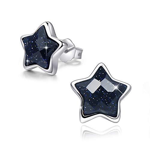 SIMPLOVE Pendientes de Estrella de Plata de ley 18K Platino Plateado con Arenisca, Aretes para Mujer Niñas, Embalaje de Caja de Regalo para Cada Momento Especial