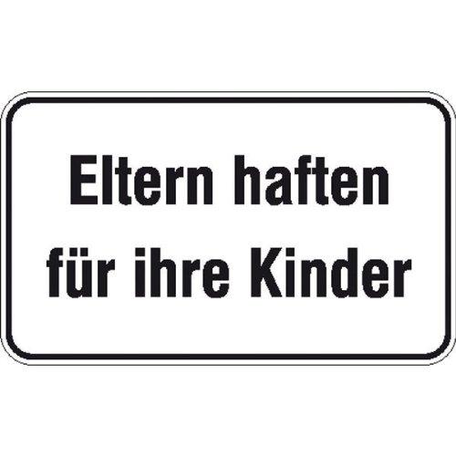 Eltern haften für ihre Kinder Hinweisschild für Gewerbe und Privat,Alu, 25x15 cm