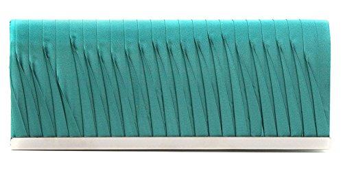 VINCENT PEREZ, Clutch, Abendtaschen, Umhängetaschen, Unterarmtaschen aus Satin mit Raffung und Metallleisten-Verzierung, mit abnehmbarer Kette (120 cm), 23x9,5x4,5 cm (B x H x T),...