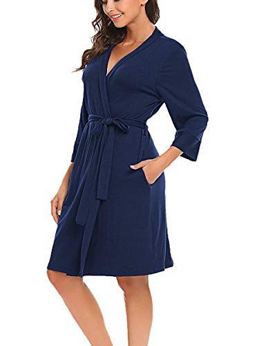 Nachtwäsche Morgenmantel Kimono Damen Nachthemd Schlafanzug Schlafkleid Kimono Bademantel Navyblau M
