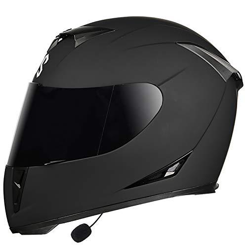 MTTKTTBD Bluetooth Motorradhelm Integralhelm,Professionel Motorradhelm für Cruiser Chopper Moped Scooter,Motocrosshelme mit Antifogging Doppelvisier für Damen Herren Automatic Answer