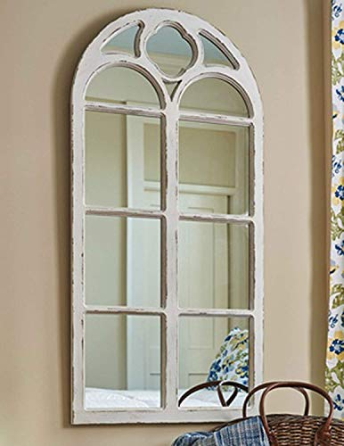 Shabby Chic Distressed White Wood Window Mirror with Arched Top, 47.25' High