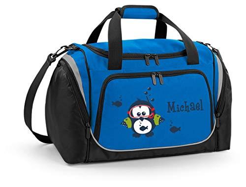 Mein Zwergenland Sporttasche Kinder personalisierbar mit Schuhfach, Kindersporttasche 39L mit Name und Eule Bedruckt in Sapphire Blau