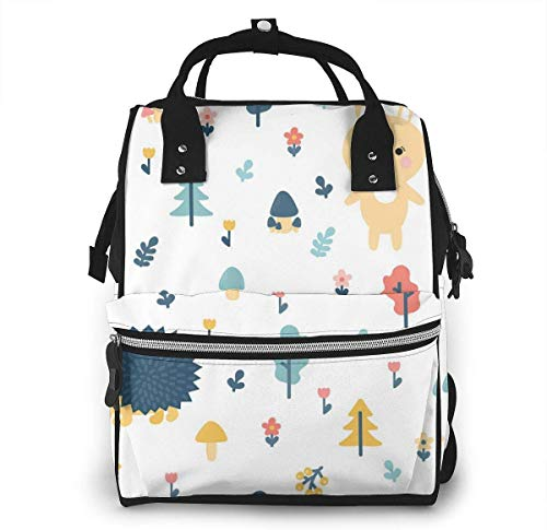 UUwant Sac à Dos à Couches pour Maman Large Capacity Diaper Backpack Travel Manager Baby Care Replacement Bag Nappy Bags Mummy Backpack,(Bear Cub, Hedgehog and Mushroom