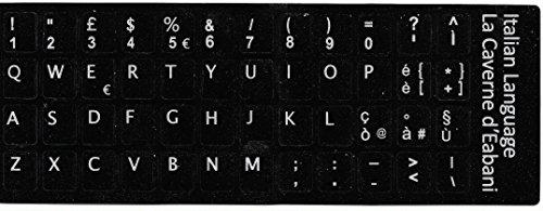 Adesivi lettere tastiera Italiano fondo nero lettere bianche